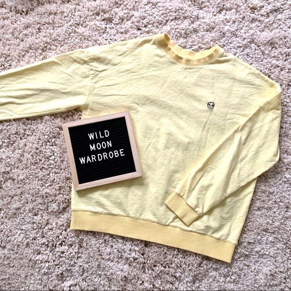 Pastel Yellow Embroidered Crewneck Sweater